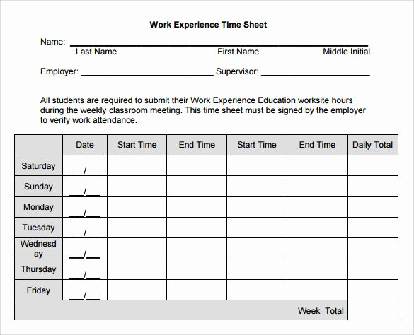 Work Hour Sheet Luxury 11 Sample Work Timesheet Calculators