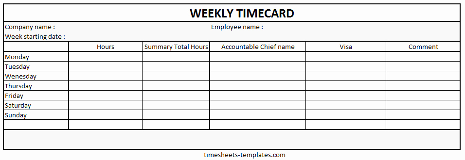 Work Hour Sheet New Ready to Use Printable Weekly Time Card with Hour Work