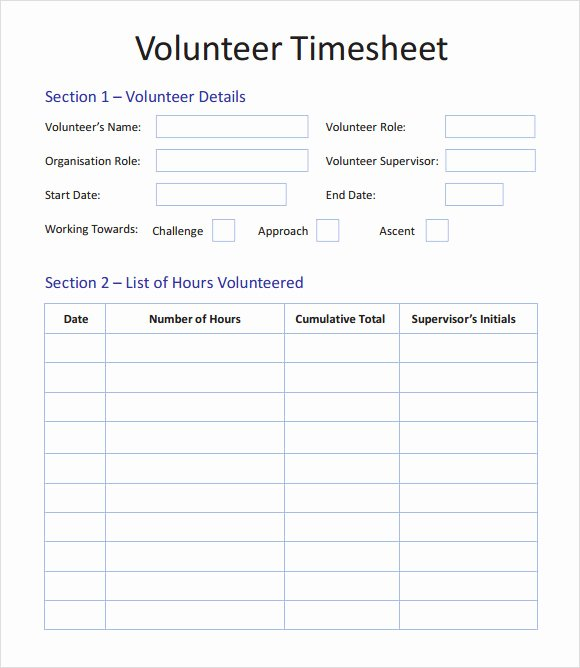 Work Hour Sheet Unique 11 Volunteer Timesheet Samples