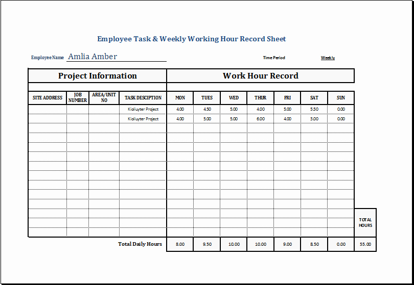 Work Hours Log Sheet Beautiful Employee Task & Weekly Working Hour Record Sheet