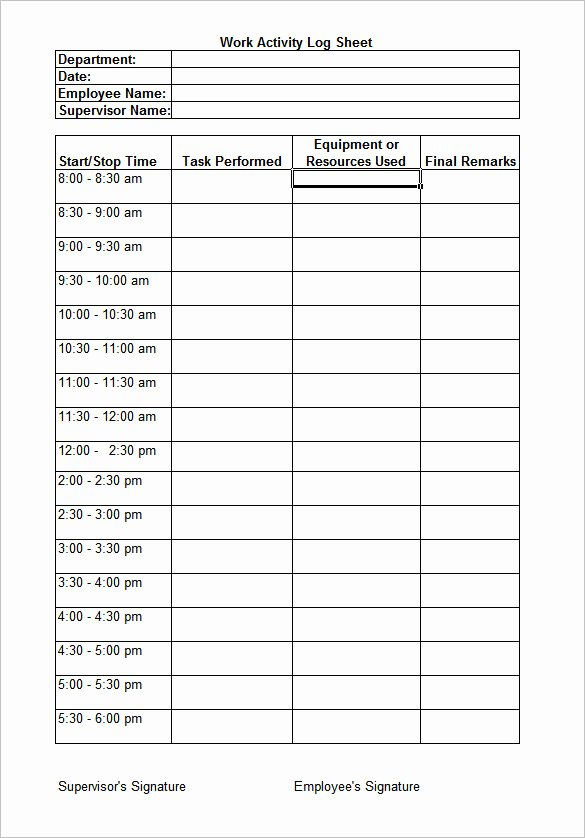 Work Hours Log Sheet Unique Work Log Template – 7 Free Word Excel Pdf Documents