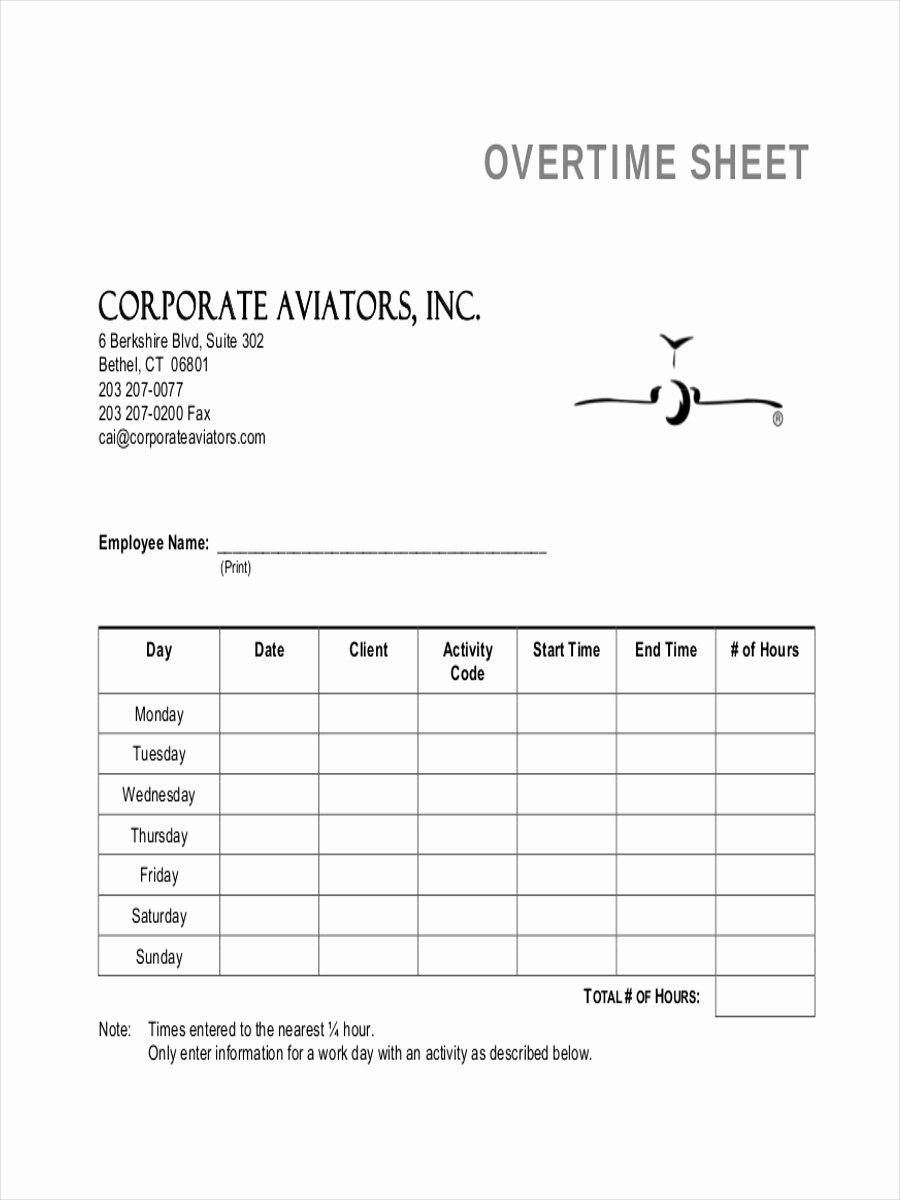 Work Hours Sheet Best Of 5 Examples Of Overtime Sheets