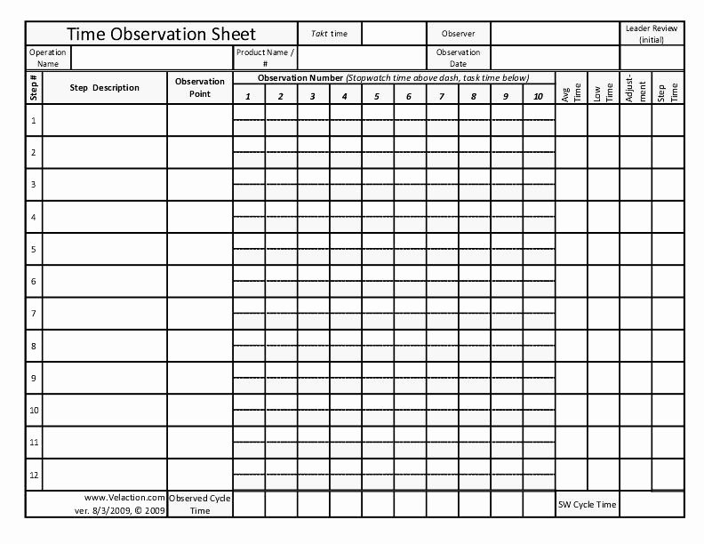 Work Hours Sheet Elegant Time Observation Sheet Free form for Documenting Lean