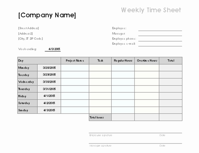 Work Hours Sheet Luxury Weekly Time Sheet with Tasks and Overtime
