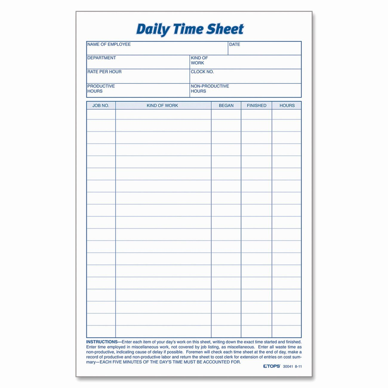 Work Hours Sheet New Daily Task Sheet for Employee