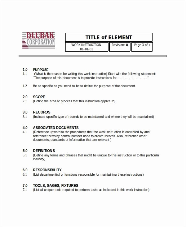 Work Instructions Template Word Best Of Writing Instruction Templates 6 Free Word Pdf Document