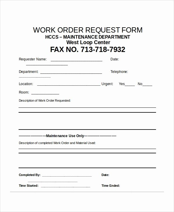 Work order Request Awesome 12 Sample Excel Request forms