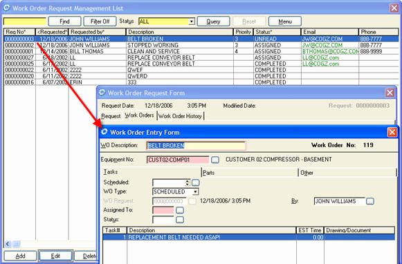 Work order Request Awesome Cogz & Cogz Ez Cmms software Work order Request Module Details