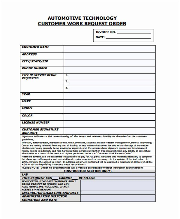 Work order Request Inspirational 10 Work order Templates Pdf Apple Pages