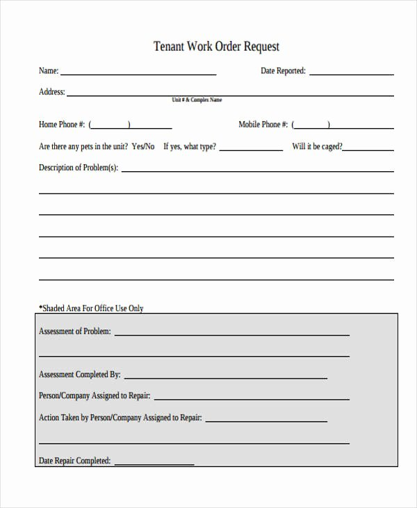 Work order Request Lovely 22 Work order form Template