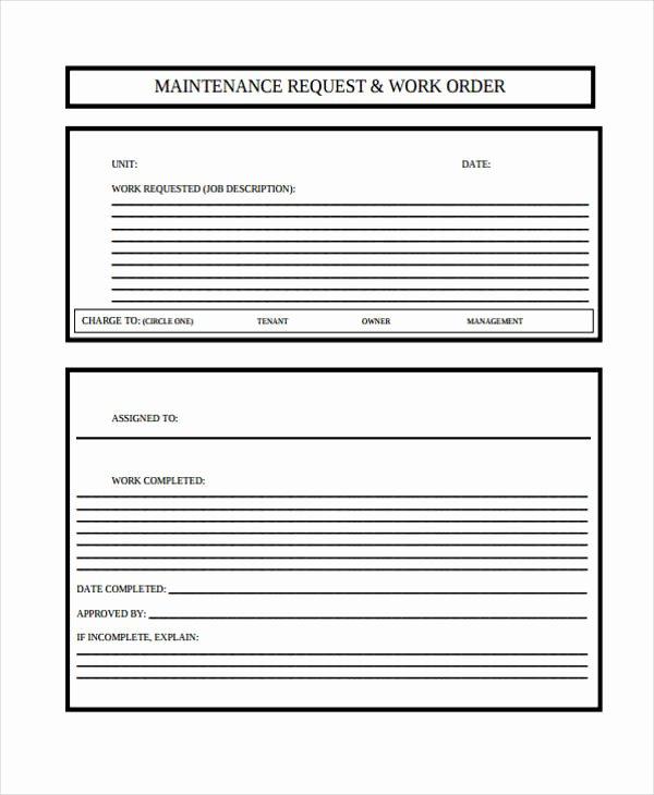 Work order Request New 6 Maintenance Work order form Sample Free Sample