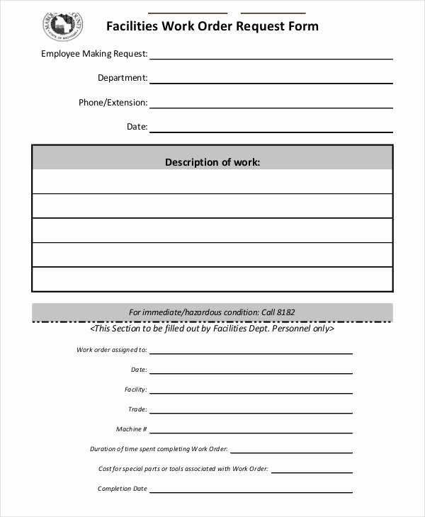 Work order Request Unique Free Work order forms