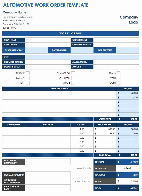 Work order Template Word Awesome 40 Work order Template Free Download [word Excel Pdf]