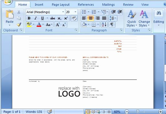 Work order Template Word Luxury Free Work order Template for Microsoft Word 2013