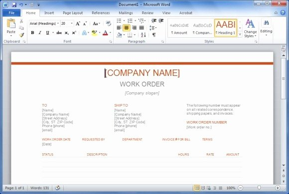 Work order Template Word Unique Free Work order Template for Word