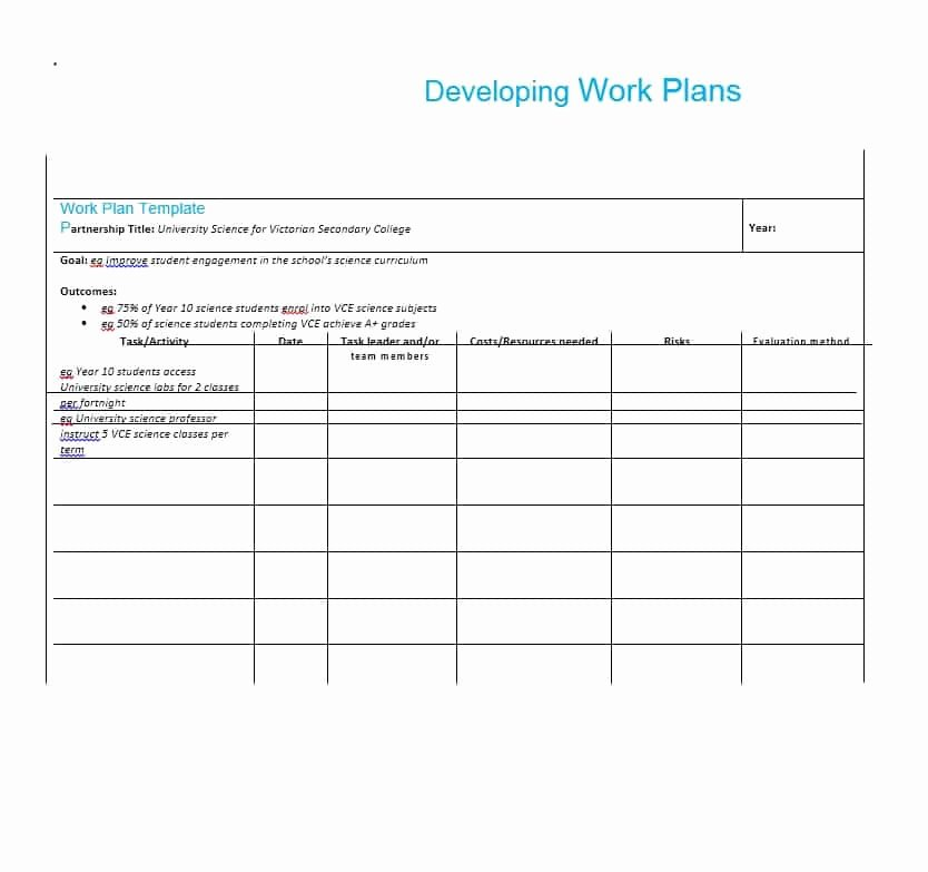 Work Plan Template Excel Beautiful Work Plan 40 Great Templates & Samples Excel Word