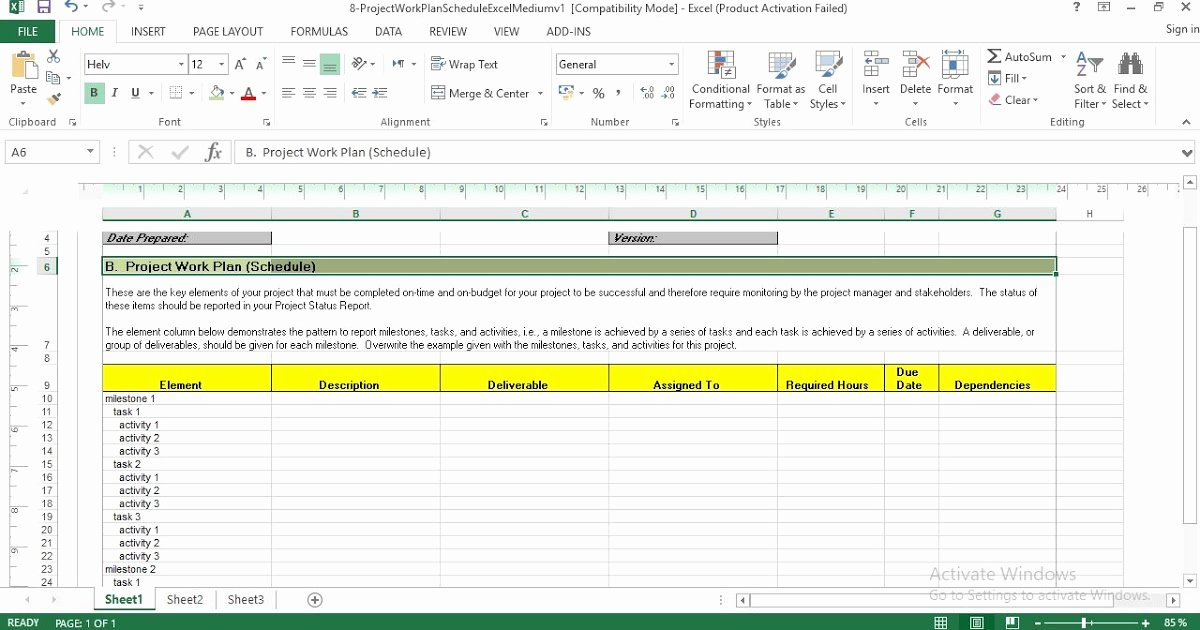 Work Plan Template Excel Inspirational Project Work Plan Schedule Excel Template Engineering