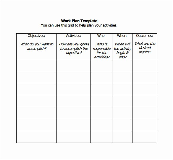 Work Plan Template Excel Luxury Work Plan Template 20 Download Free Documents for Word