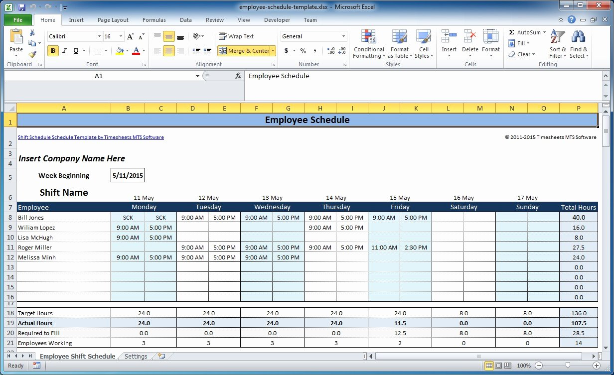 Work Plan Template Excel New Free Employee and Shift Schedule Templates