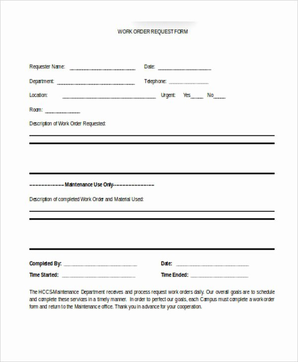 Work Request form Beautiful 22 Work order form Template