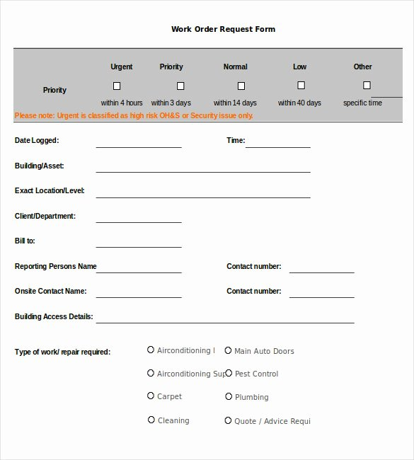 Work Request form Beautiful Work order Template 13 Free Word Excel Pdf Document