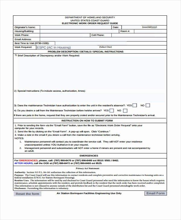 Work Request form Elegant 20 Sample Work order forms