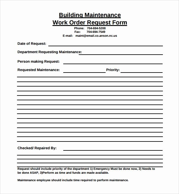 Work Request form Inspirational 8 Sample Maintenance Work order forms