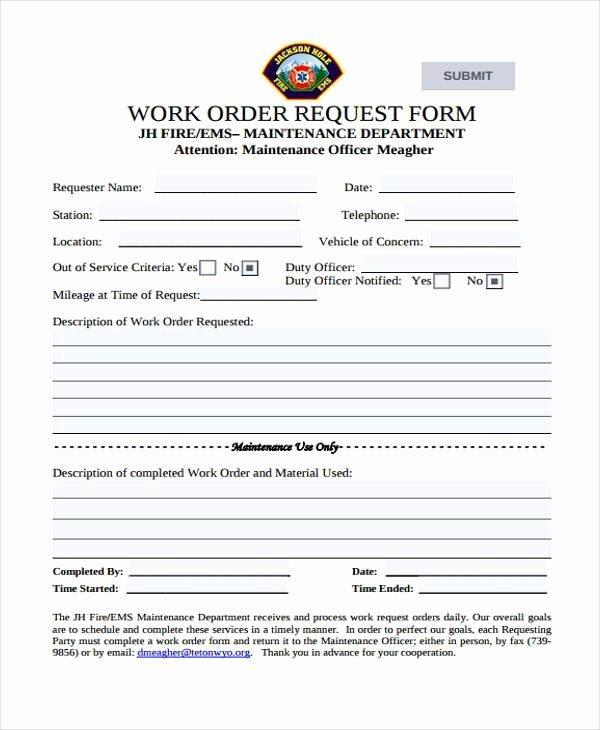Work Request form Lovely Sample order forms