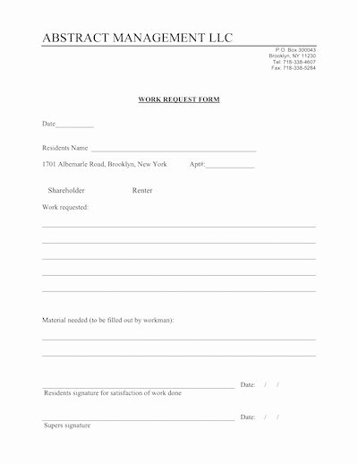 Work Request form Lovely Work Request form