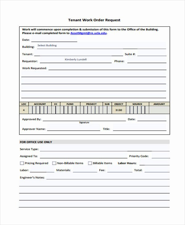 Work Request form New 22 Work order form Template