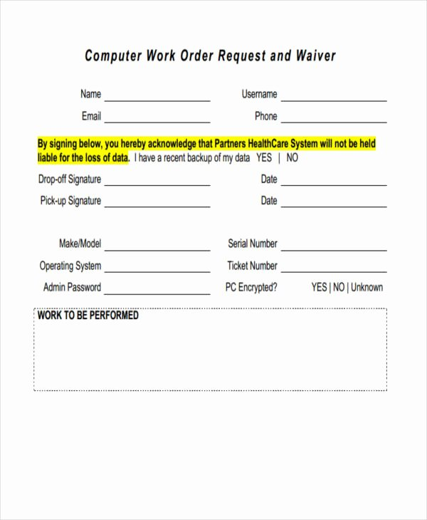 Work Request form Unique 20 Sample Work order forms