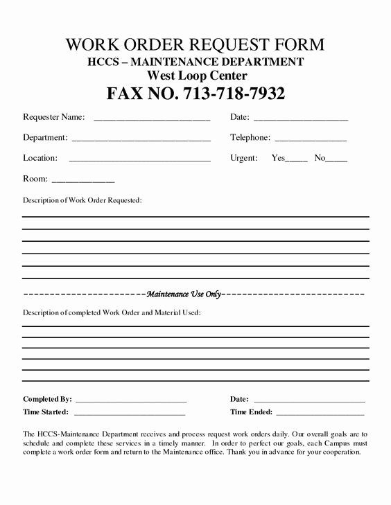 Work Request form Unique Free Customer Work order Request