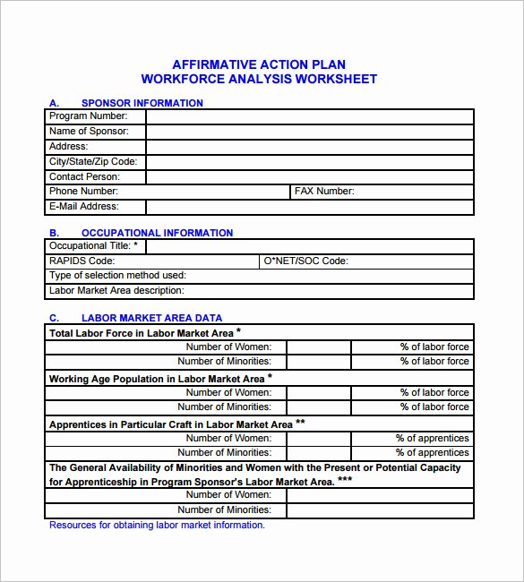 Workforce Planning Template Excel Awesome Affirmative Action Plan Template 5 Free Word Excel