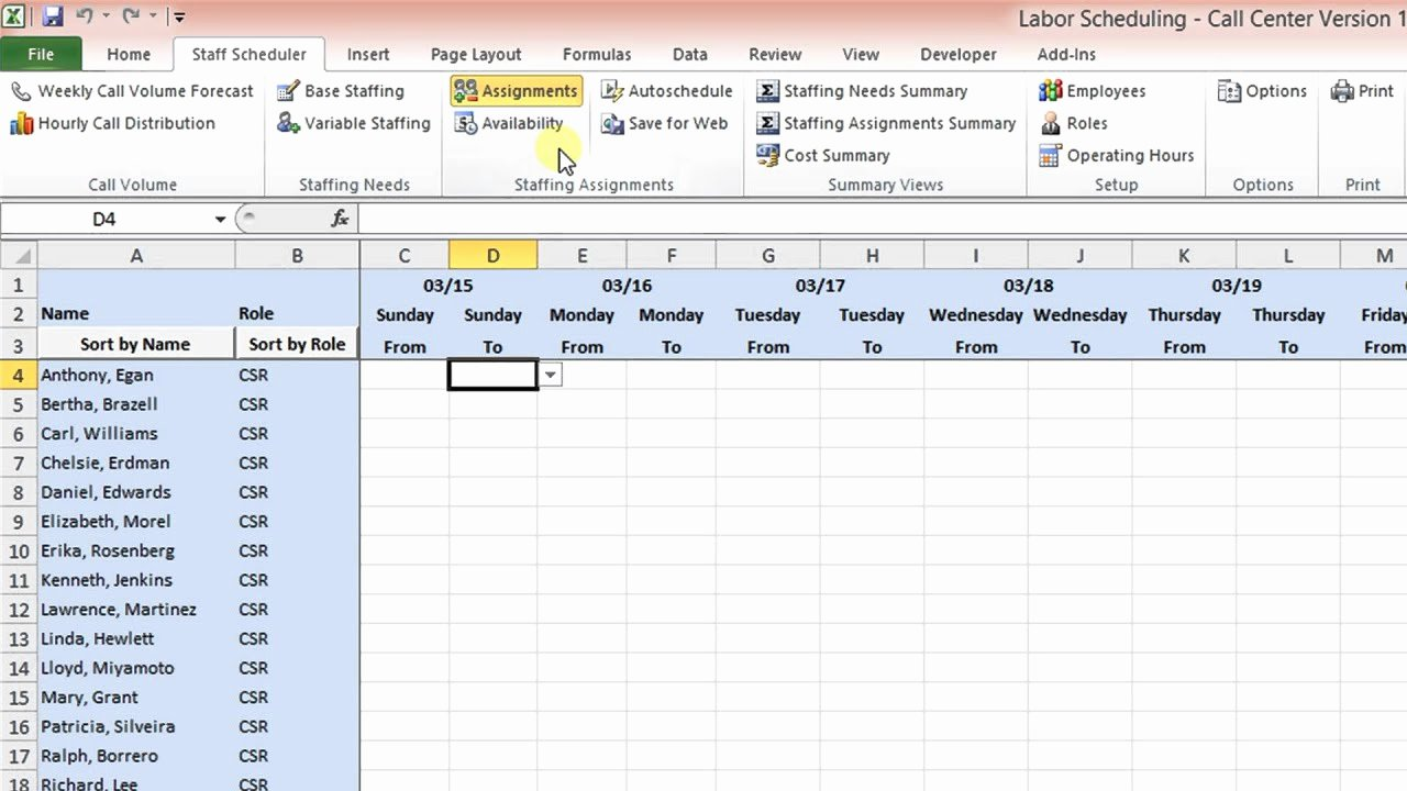 Workforce Planning Template Excel Fresh Labor Scheduling Template for Excel Call Center Version