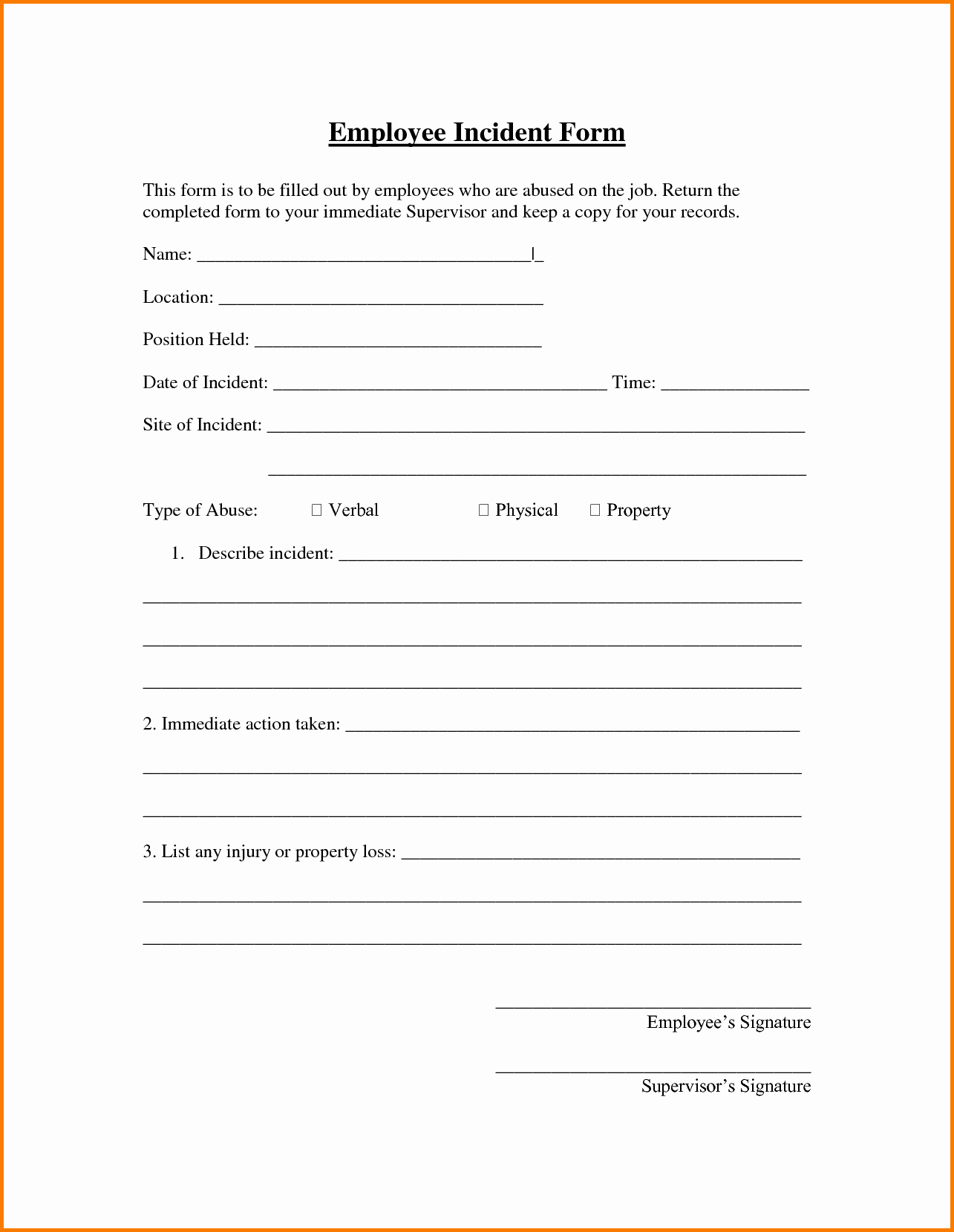 Workplace Incident Report form Template Free Awesome Employee Incident Report Sample