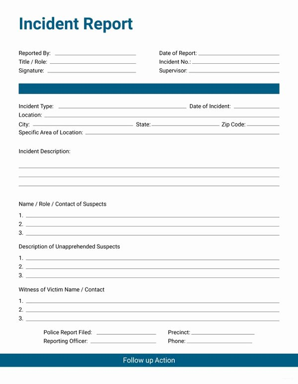 Workplace Incident Report form Template Free Beautiful 33 Incident Report format