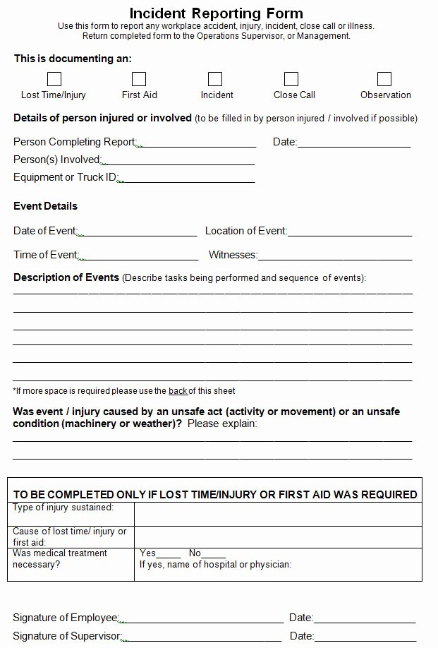 Workplace Incident Report form Template Free Beautiful Best S Of Work Incident Report Template Accident