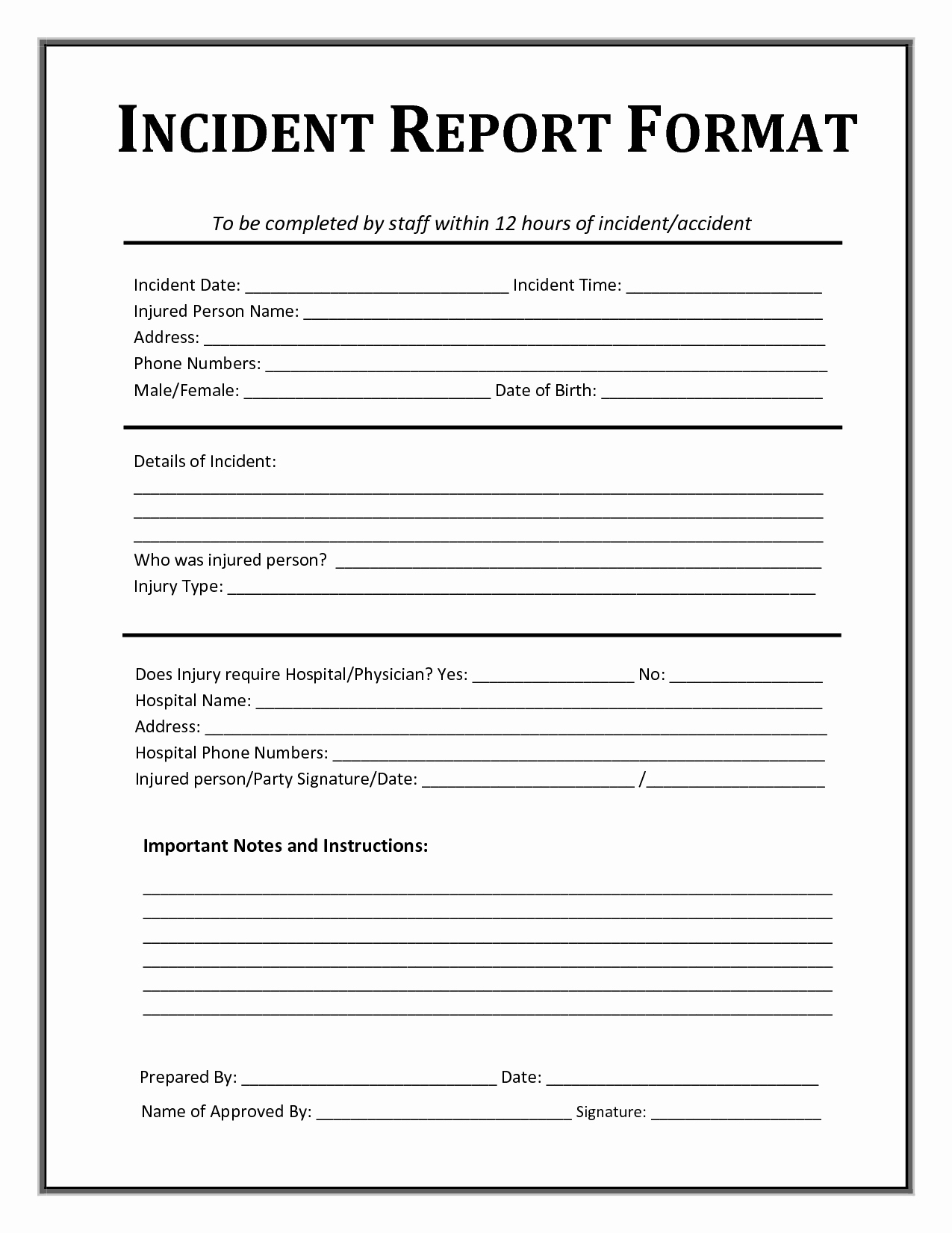 Workplace Incident Report form Template Free Beautiful Incident Report form Template