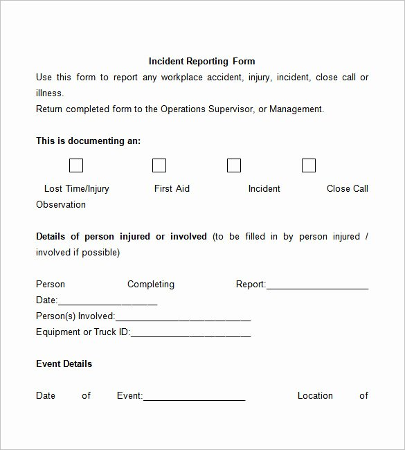 Workplace Incident Report form Template Free Fresh 50 Incident Report Templates Pdf Docs Apple Pages
