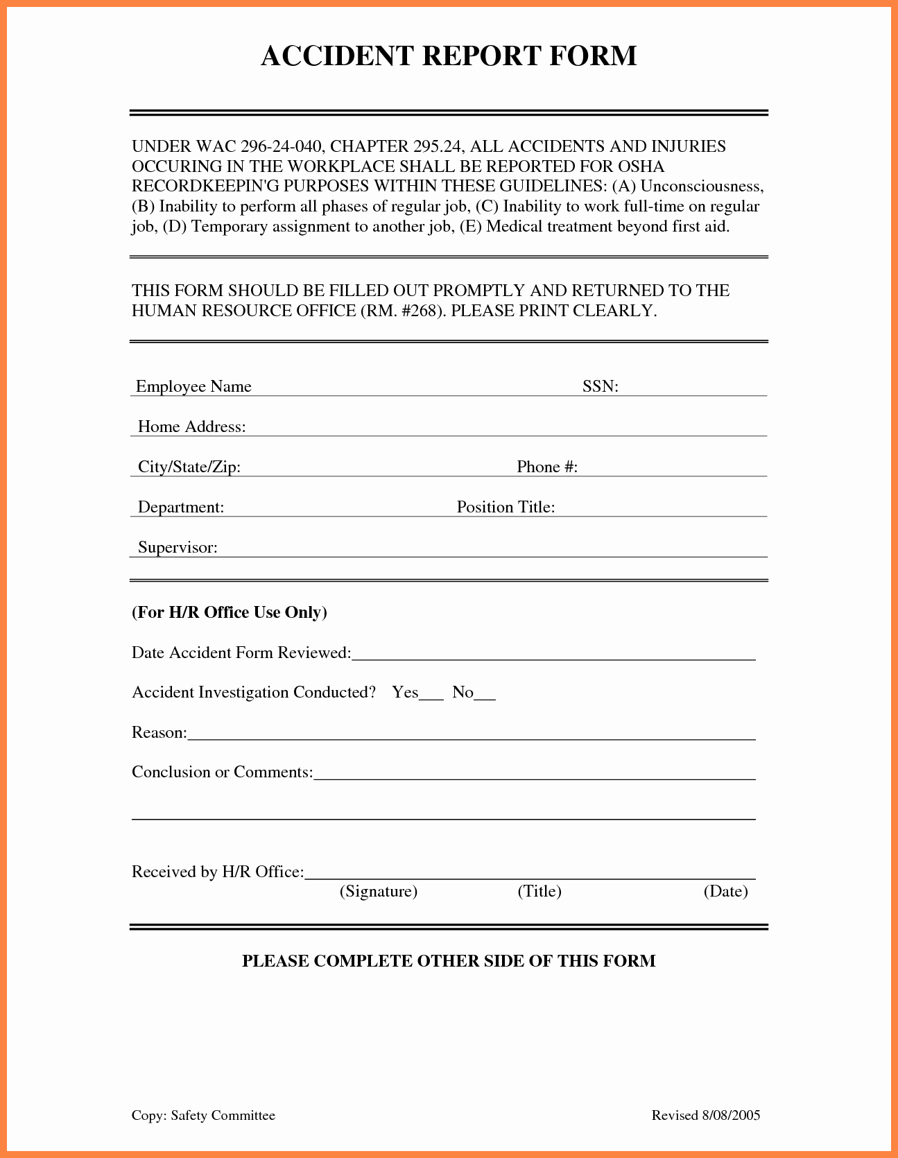Workplace Incident Report form Template Free Lovely 4 Accident Incident Report form Template