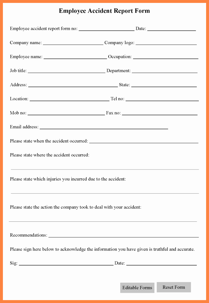 Workplace Incident Report form Template Free Unique 5 Workplace Accident Report form Template