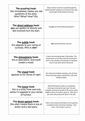 Writing Good Hooks Worksheet Awesome Narrative Hooks by He4therlouise
