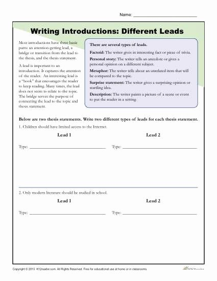 Writing Good Hooks Worksheet New How to Write An Introduction Different Leads Worksheet
