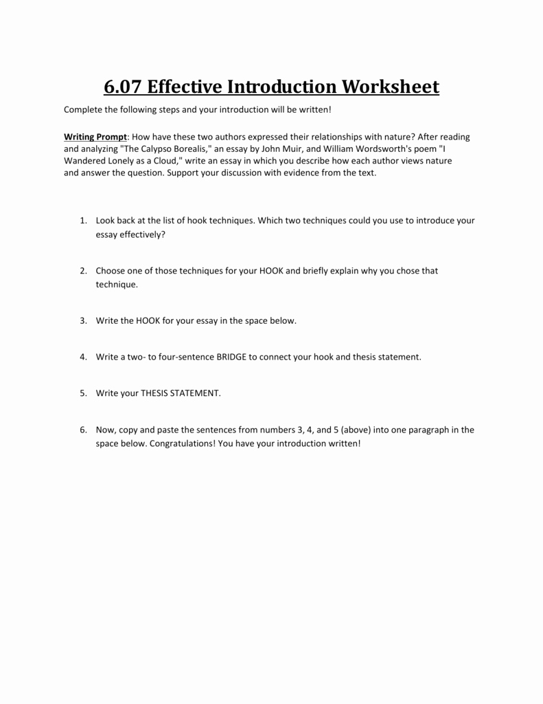 Writing Good Hooks Worksheet Unique Writing Effective Sentences Worksheet Answers the Best