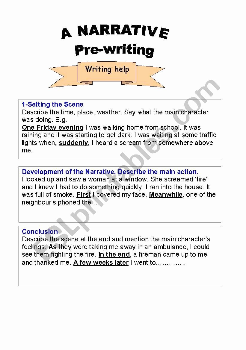 Writing Process Worksheet Pdf Fresh English Worksheets Narrative Writing Text