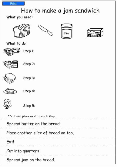 Writing Process Worksheet Pdf Lovely How to Make A Jam Sandwich Sequencing Sheet