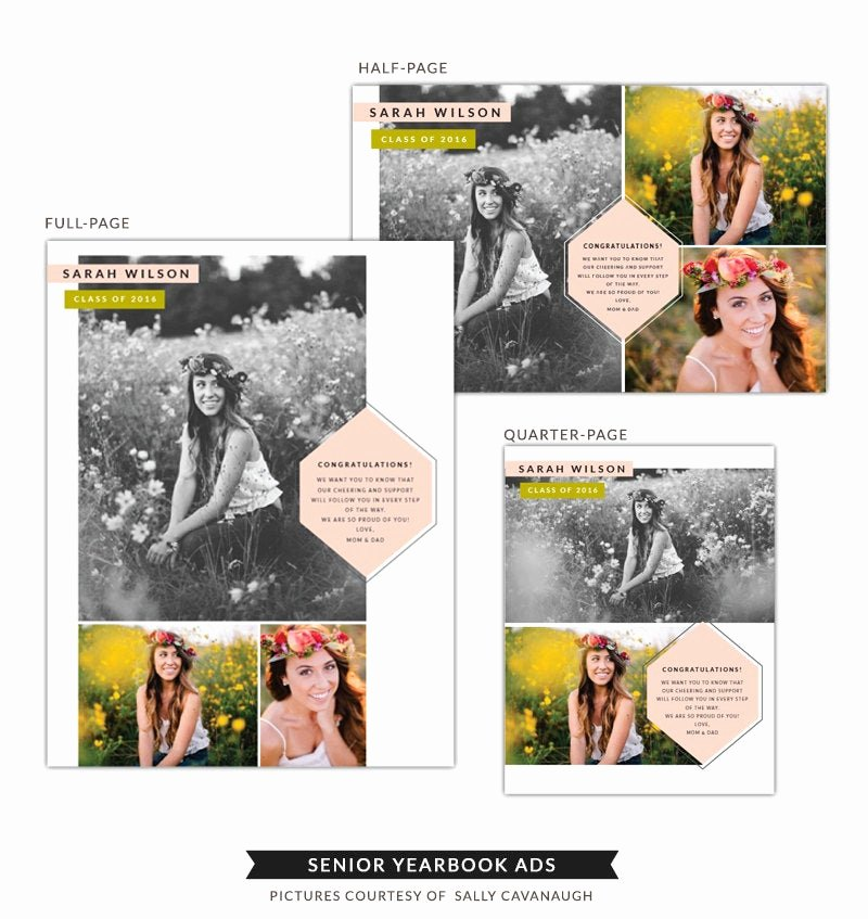 Yearbook Ad Templates Free Download Unique Instant Download Senior Yearbook Ads Boho Style