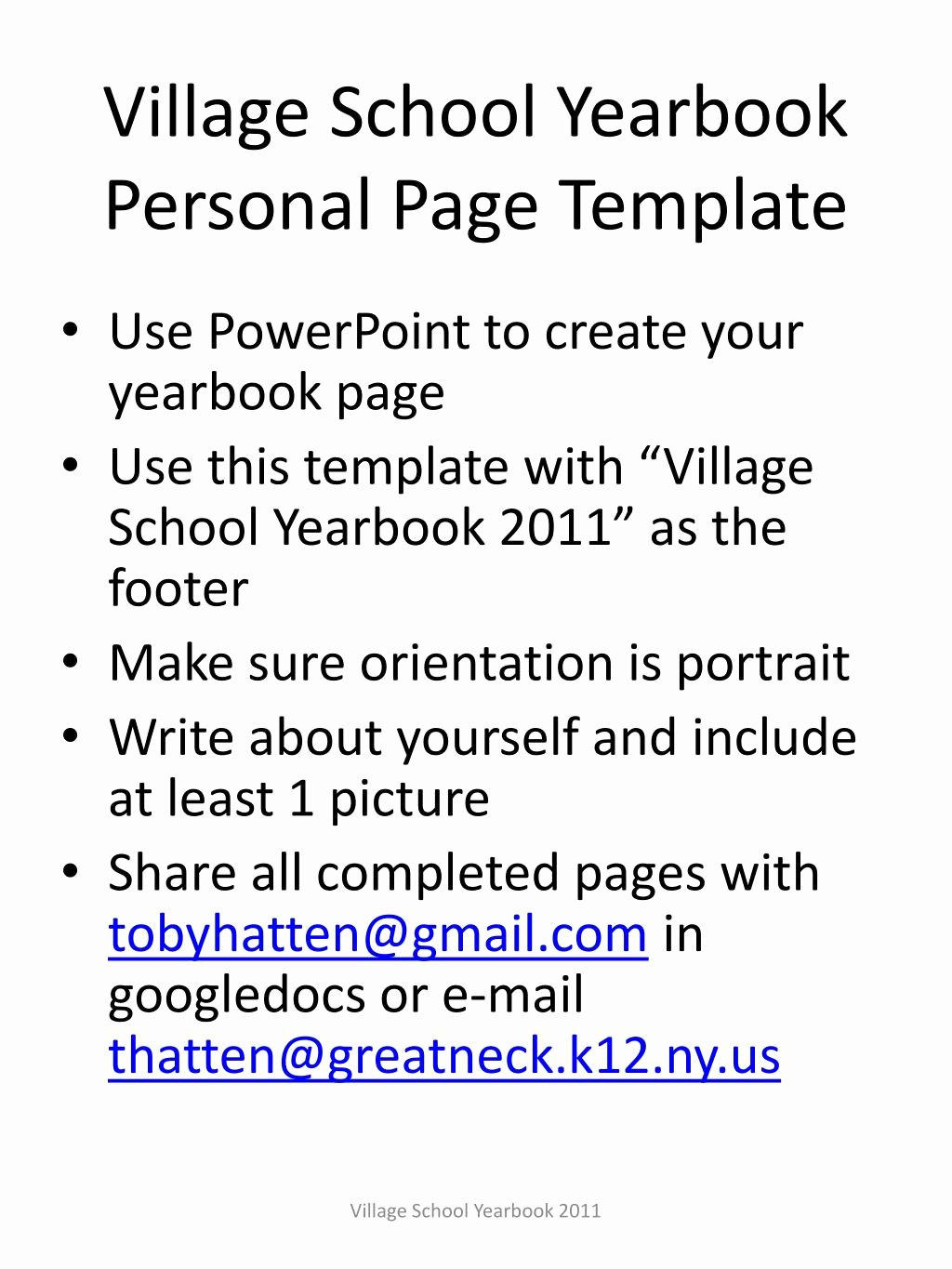Yearbook Template Powerpoint New Ppt Village School Yearbook Personal Page Template