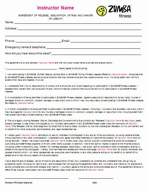 Yoga Release forms Awesome Yoga Waiver form Template – Radiofama