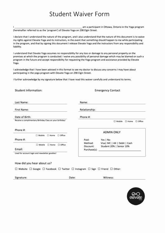 Yoga Release forms Elegant Student Waiver form Elevate Yoga Printable Pdf